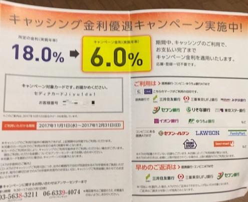 セディナカードキャッシング利率6.0%のキャンペーン