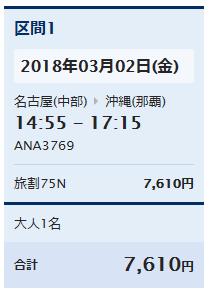 那覇―名古屋1月