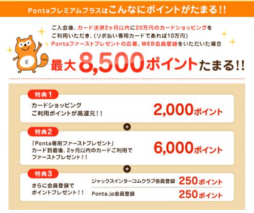Ponta Premium Plus入会キャンペーン詳細