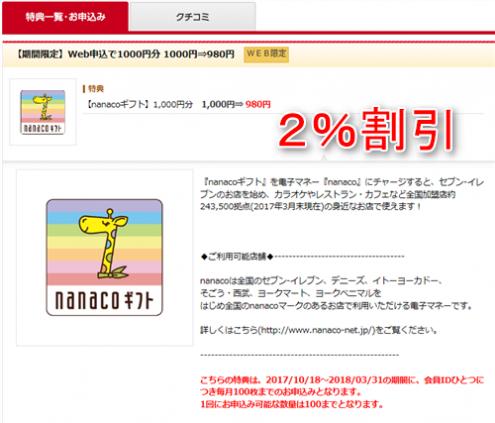 nanaoギフト1000円分が980円の2%割引
