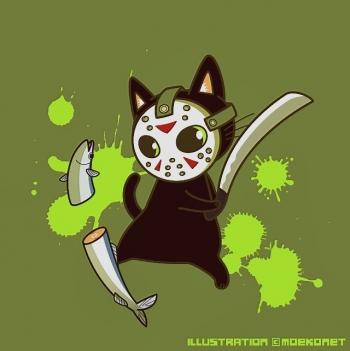 ジェイソン猫秋刀魚イラスト