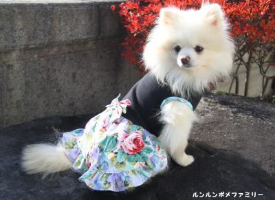 花柄リボンワンピ