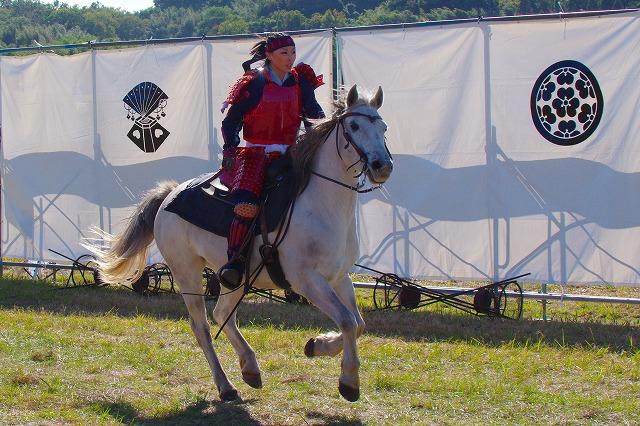 大野川合戦祭り 騎馬疾走逆光 3