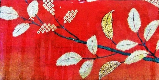 Pieces from a Kosode with Leafy Branches (2)