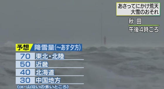寒波 冬 北日本 雪