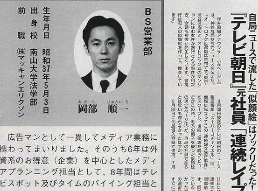 岡部順一 テレビ朝日 婦女暴行 タレント オーディション
