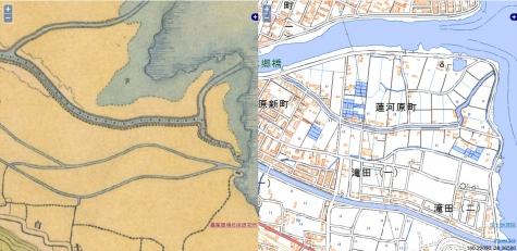明治初期-現代の比較地図【桜川河口】