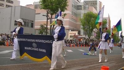 【浜松まつり】 フラッグ 落とし 拾う チア  「浜北西高校」3 (9)