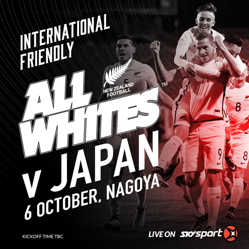 All Whites will take on Japan on 6 October in Nagoya