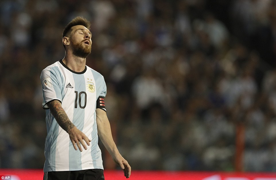 Lionel Messi shows his dejection after Argentinas frustrating 0-0 draw against Peru