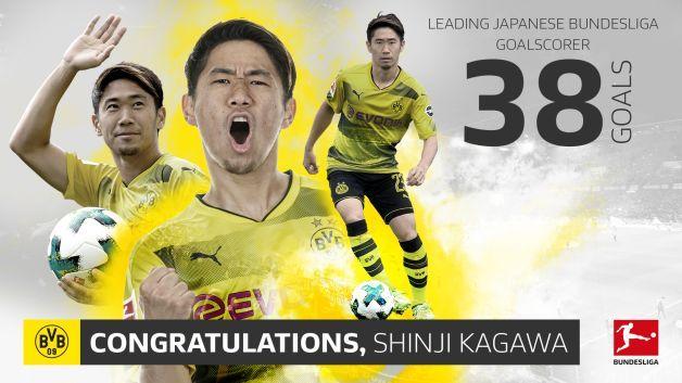 Borussia Dortmunds Shinji Kagawa breaks Bundesligas Japanese goalscoring record