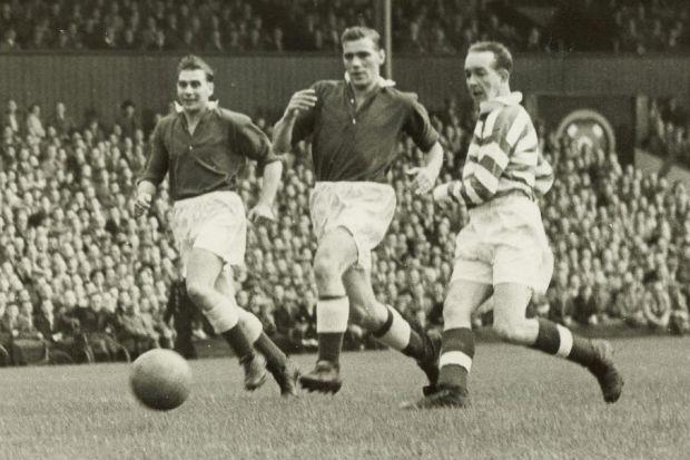 Charlie Tully scores for Celtic against Hearts during a League Cup match at Tynecastle in 1954