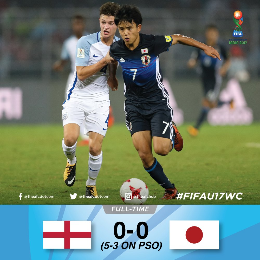 England 0-0 Japan Heartbreak for Japan as they are out of #FIFAU17WC on penalties