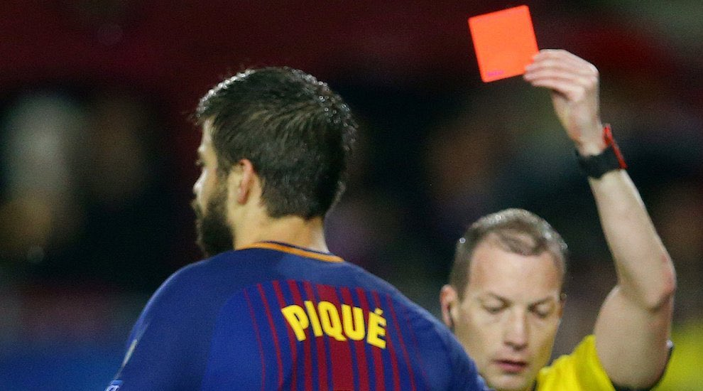 Pique was unfortunate to be red carded against Olympiacos