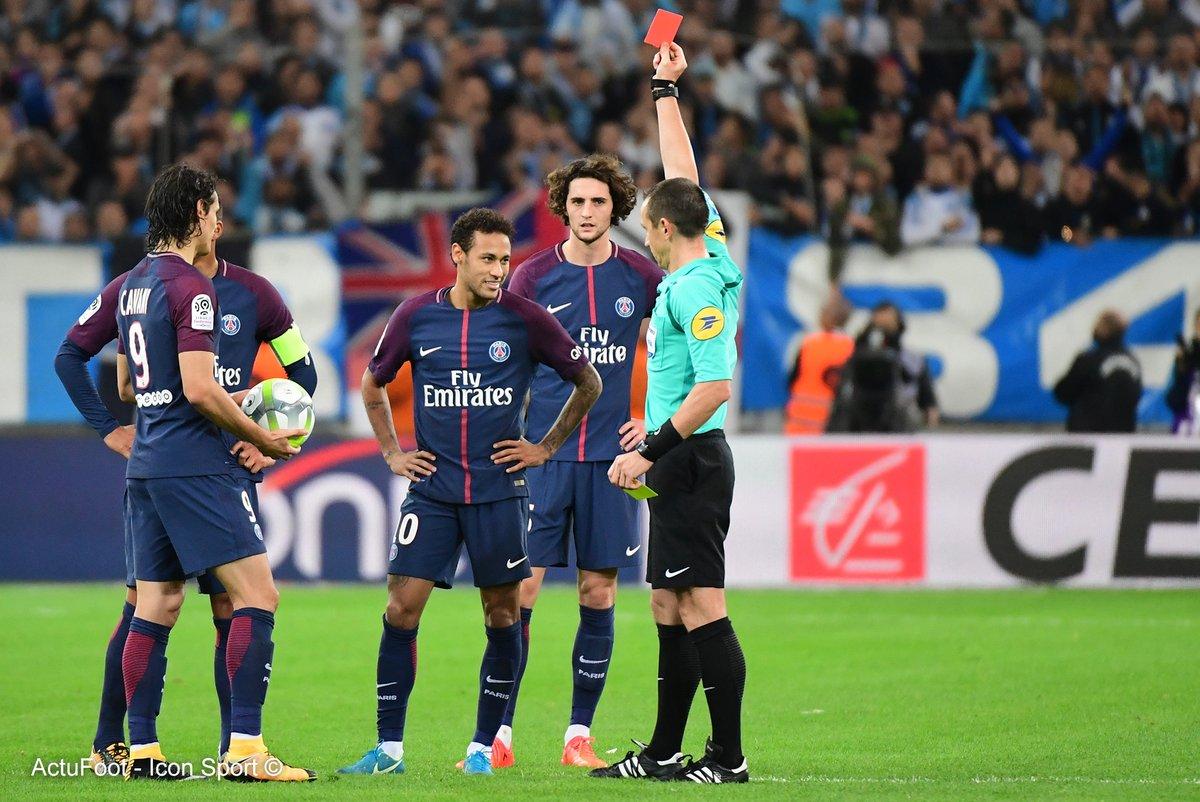 Marseille 2-2 PSG neymar redcard