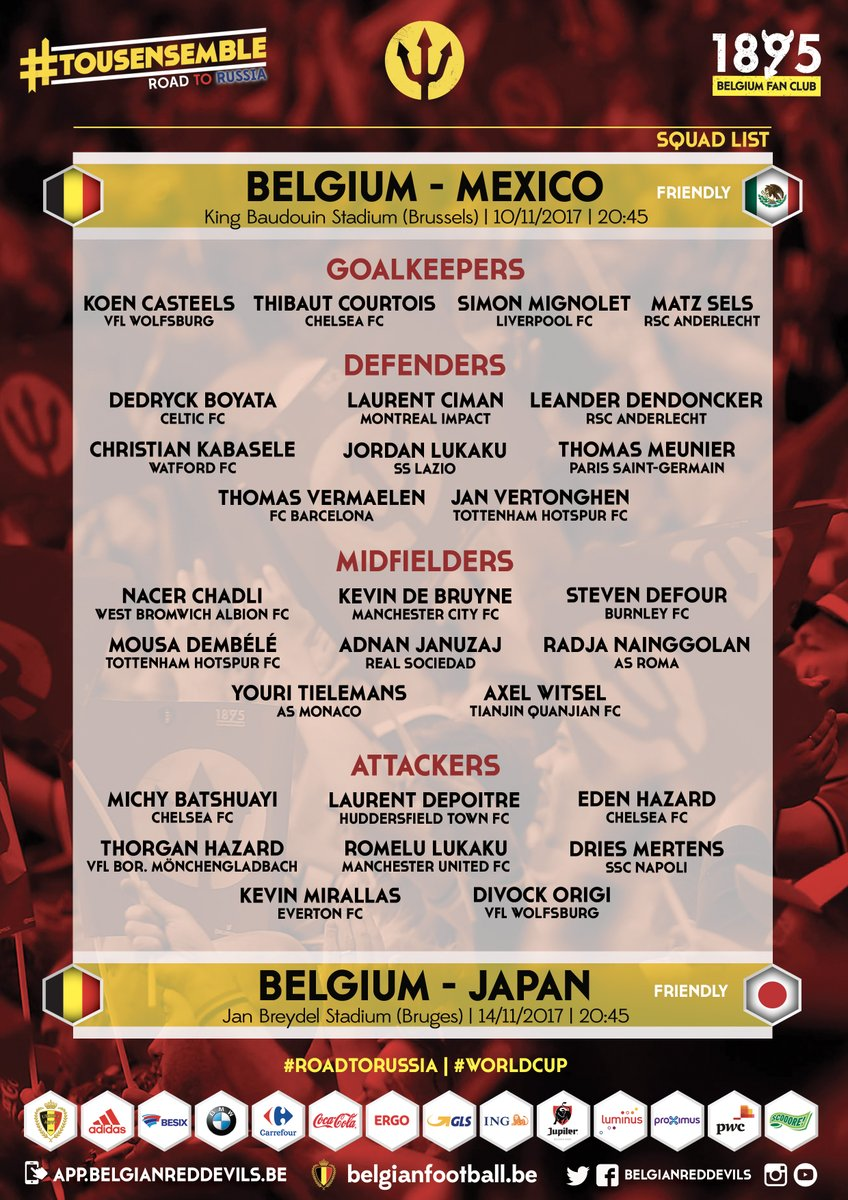 BelgianRedDevils squad list for Mexico Japan! #BELMEX #BELJAP