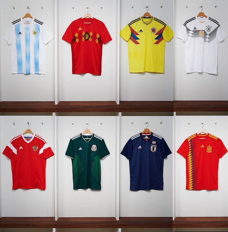 Adidas goes retro with their WC kits (Argentina, Belgium, Colombia, Germany, Russia, Mexico, Japan Spain)