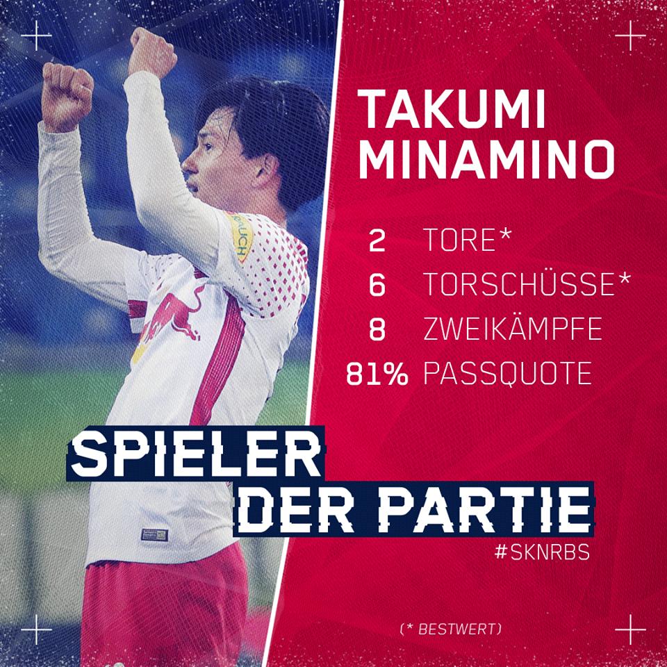 Takumi Minamino named Man of the Match against SKN St Pölten