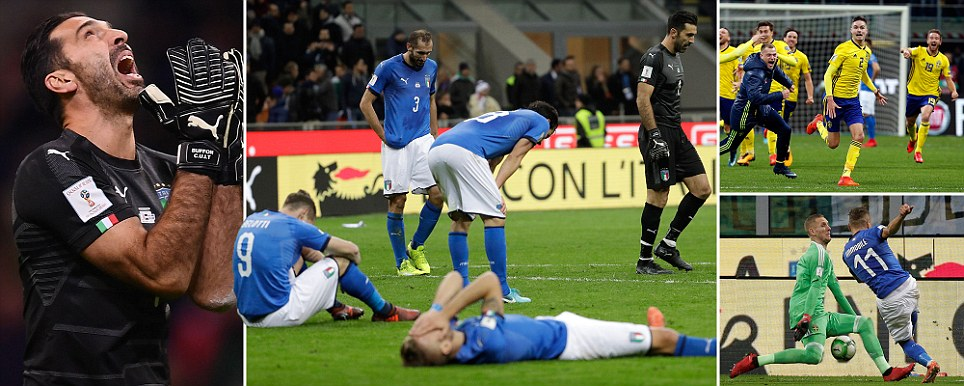 Heartbreak for Italy Buffon and Co left in tears as they fail to reach World Cup for first time in 60 years after stalemate against Sweden