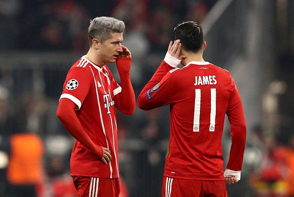 James Rodríguez and Robert Lewandowski agaisnt psg