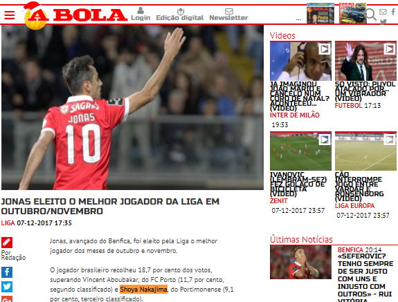 Shoya Nakajima has been voted the 3rd best player in Portuguese Primeira Liga for the months of October and November
