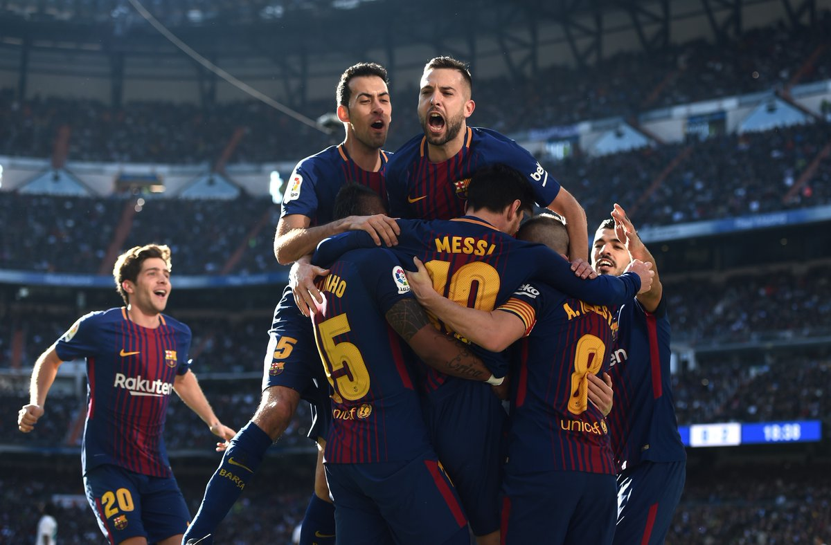 Luis Suarez, Lionel Messi and Aleix Vidal scored for Barcelona as the Catalan giants defeated 10-men Real Madrid 3-0 at the Santiago Bernabeu Stadium