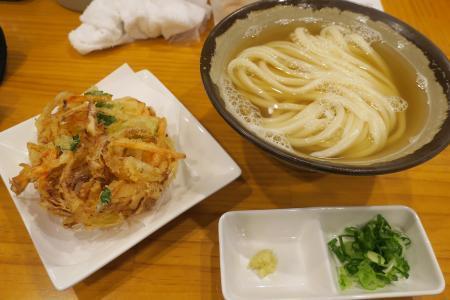 かけうどん+駿河湾産桜えびの野菜かき揚げ