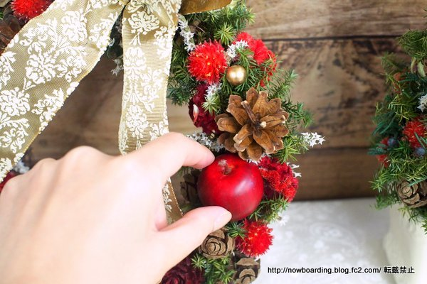 日比谷花壇 クリスマス ドライリース「リース ド ルージュ」