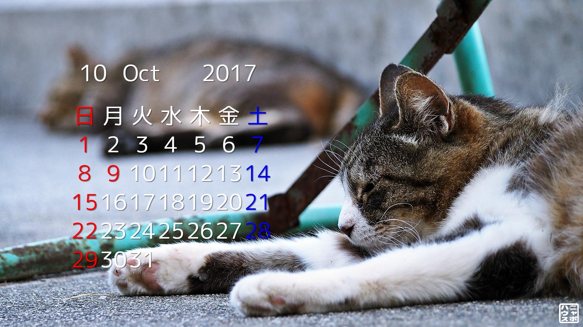 2017年10月 猫デスクトップカレンダー