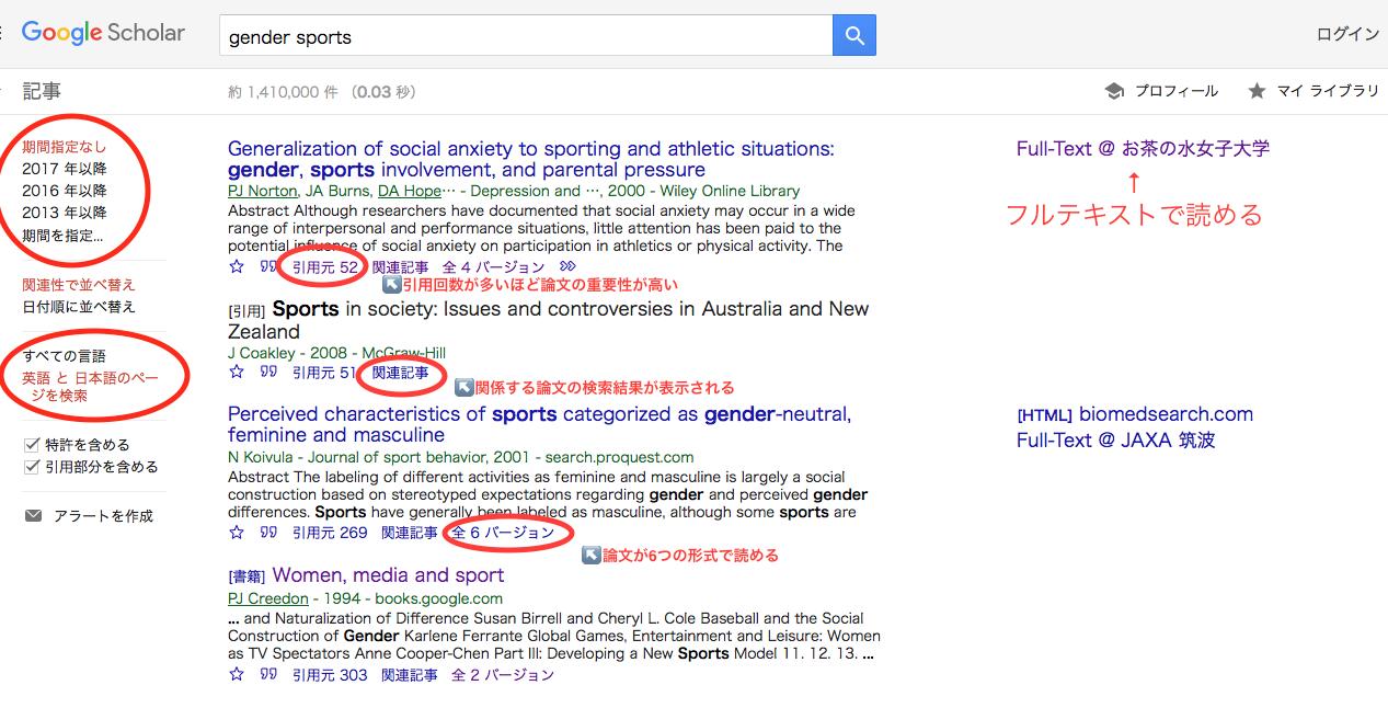 Google Scholar検索結果画面