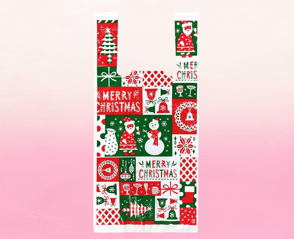 季節限定クリスマス柄袋