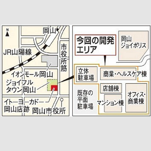 イトヨーカドー岡山 跡地 予定地図 ss