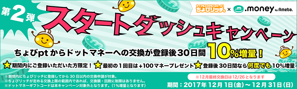 ちょびリッチ スタートダッシュキャンペーン第2弾