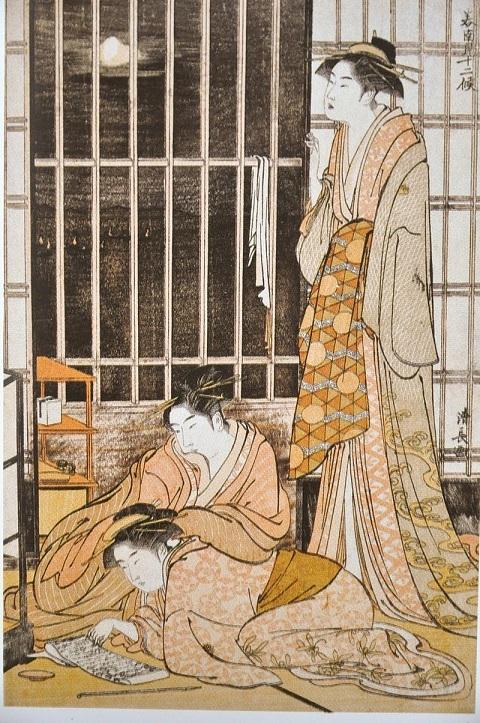 鳥居清長『美南見十二候 九月 漁火(いざよう月)』 天明4年(1784年頃)千葉市美術館蔵