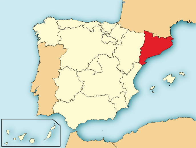 スペインにおけるカタルーニャ州(赤)