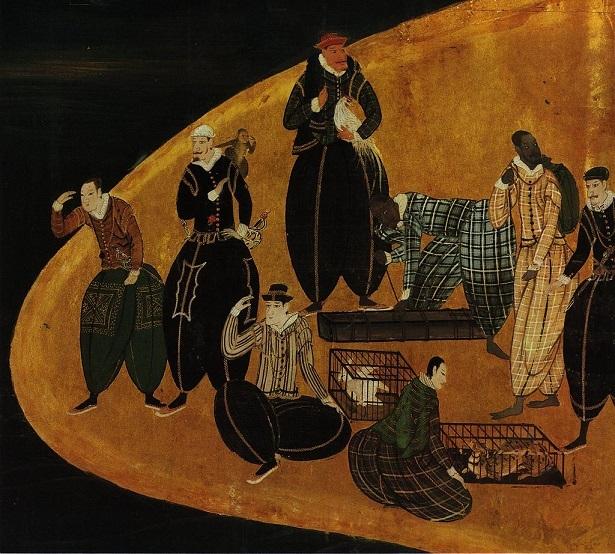 南蛮人(16-17世紀、狩野内膳画の南蛮屏風より)