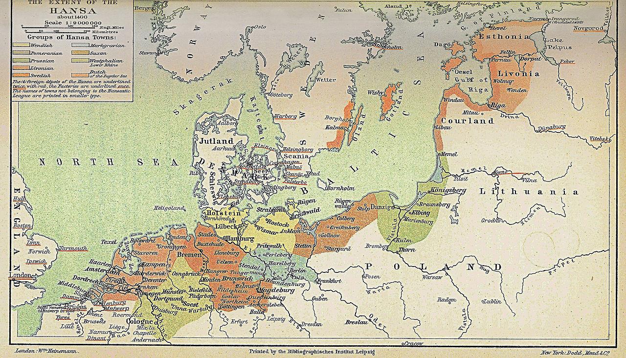 1400年頃のハンザ同盟の勢力範囲(着色部分)