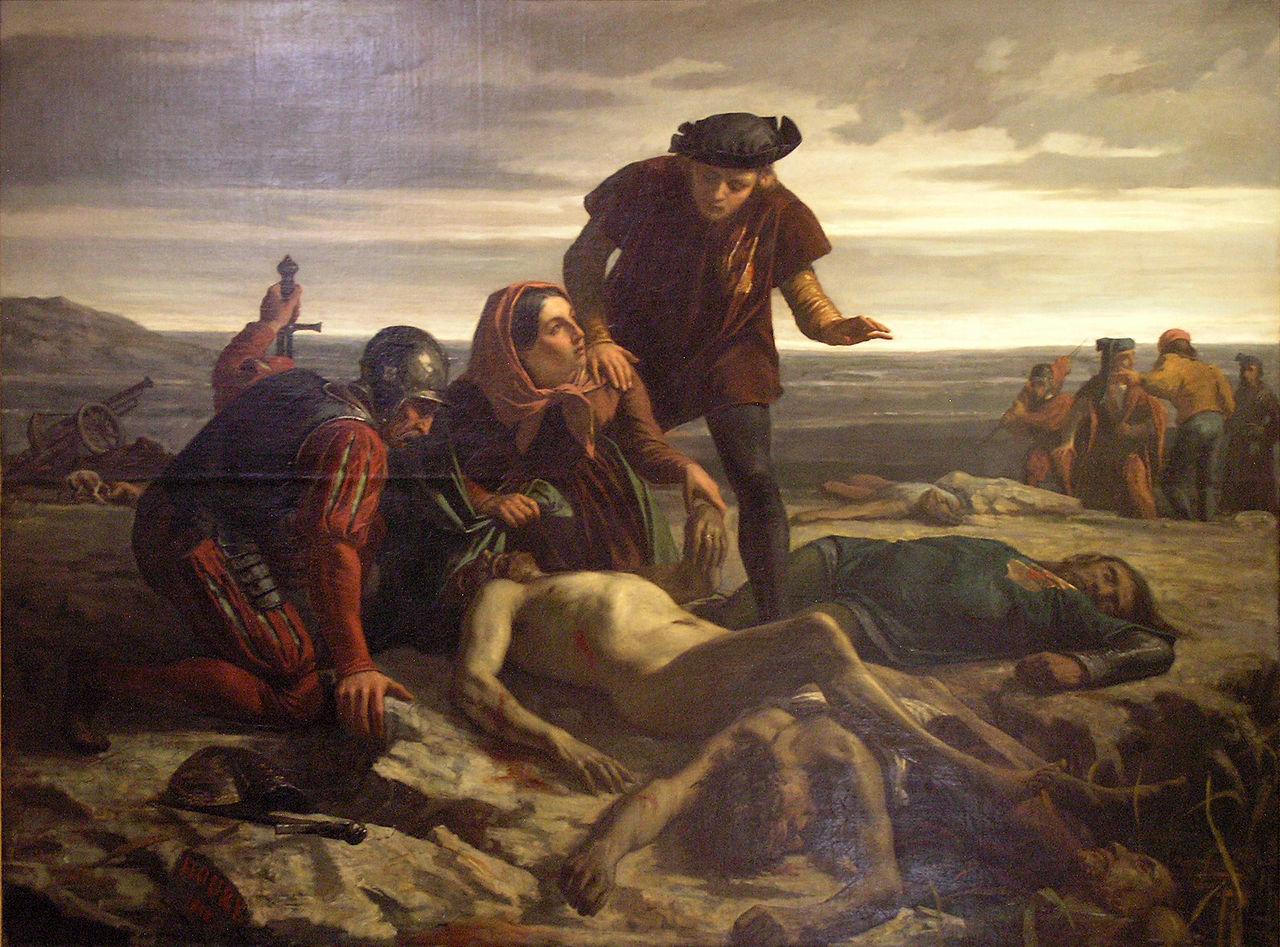 戦いの後発見されたシャルル突進公の遺体。作者未詳(1862年)