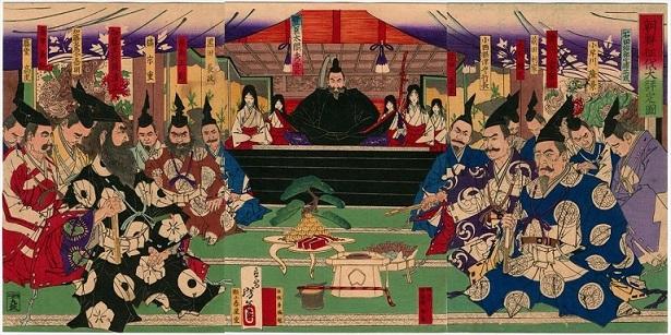 『朝鮮征伐大評定ノ図』(月岡芳年作)新撰太閤記の一場面