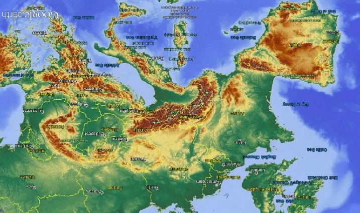 ヨーロッパ地形図