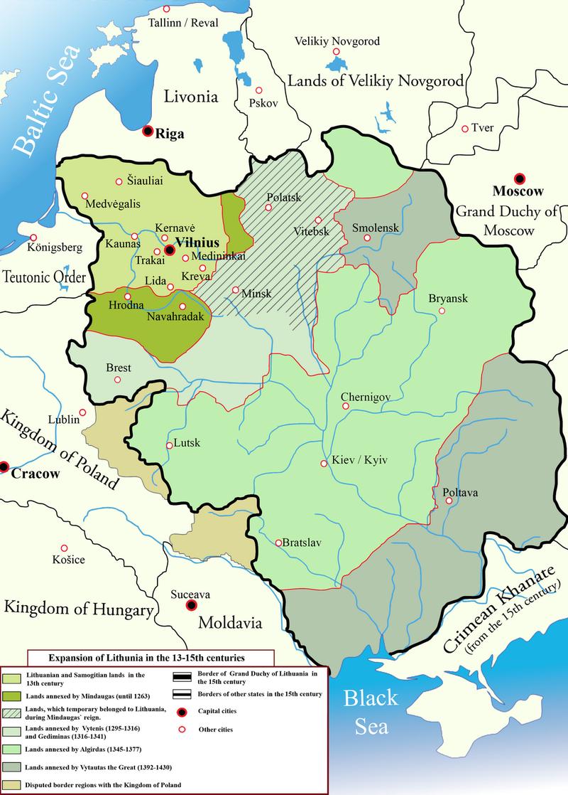13〜15世紀におけるリトアニア大公国の領域