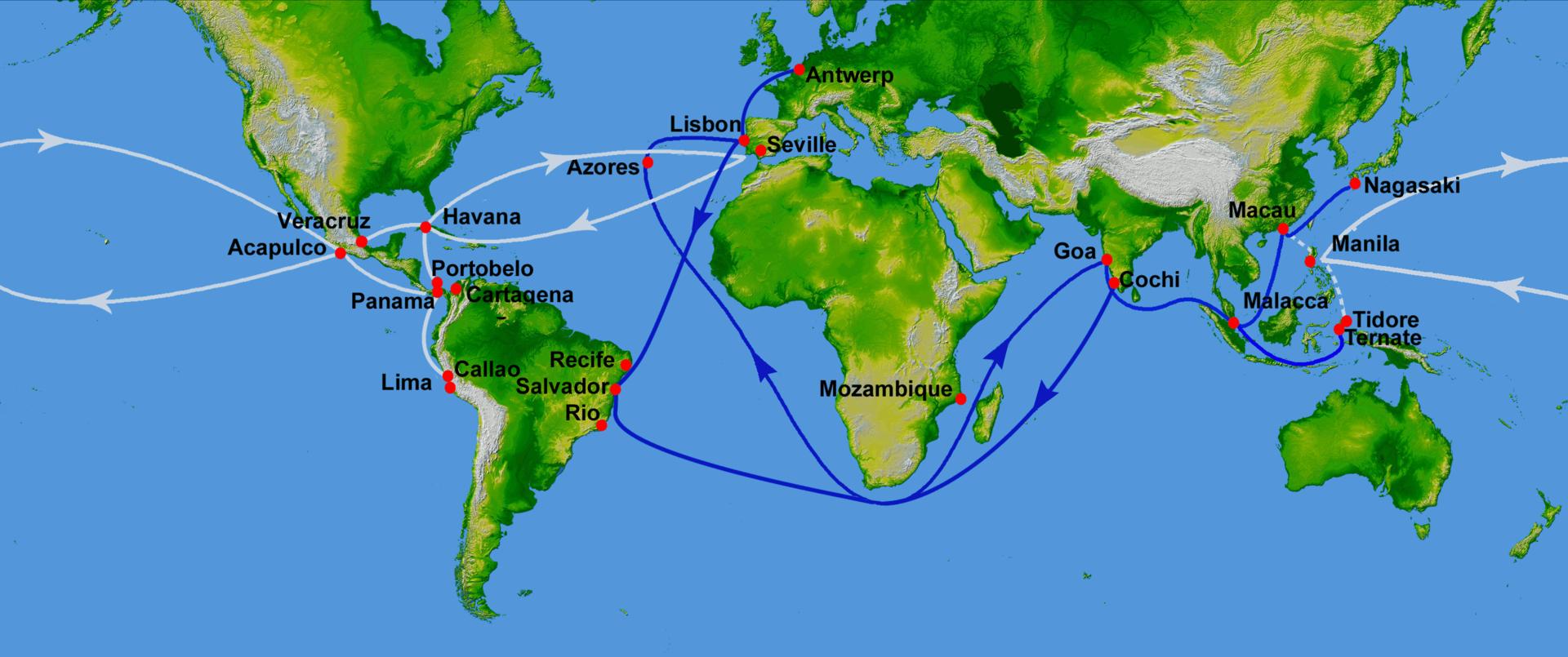 16世紀のポルトガル海上帝国の貿易ルート (青) 及び競合するマニラ・ガレオンの貿易ルート (白)