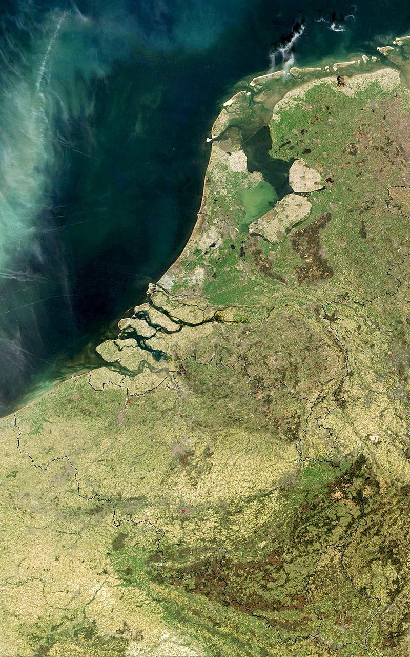 人工衛星が撮影した低地諸国(ベネルクス)地方