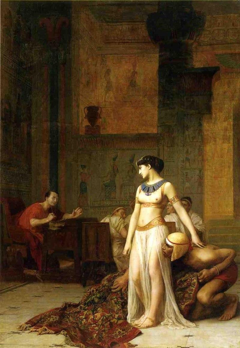 「Cléopâtre et César」ジャン=レオン・ジェローム画 1886年  絨毯の中からカエサルの前へ現れるクレオパトラ