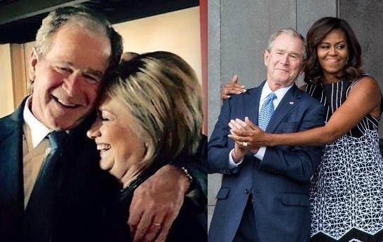 Bush_Hillary_MObama ブッシュ ヒラリー ミッシェル