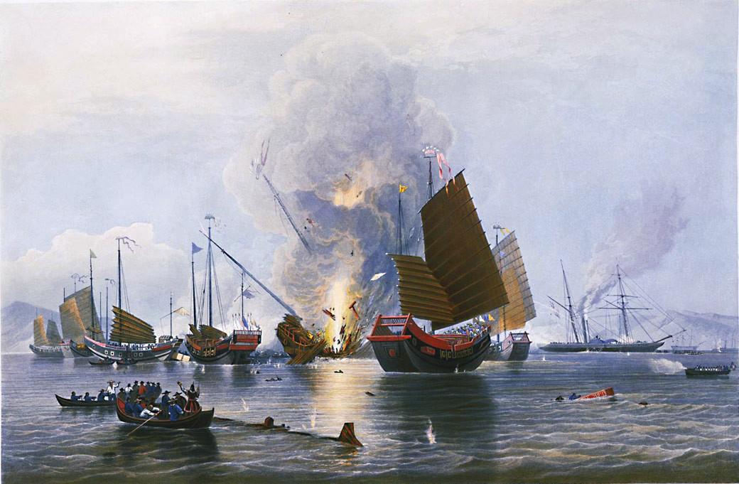 イギリス海軍軍艦に吹き飛ばされる清軍のジャンク船を描いた絵