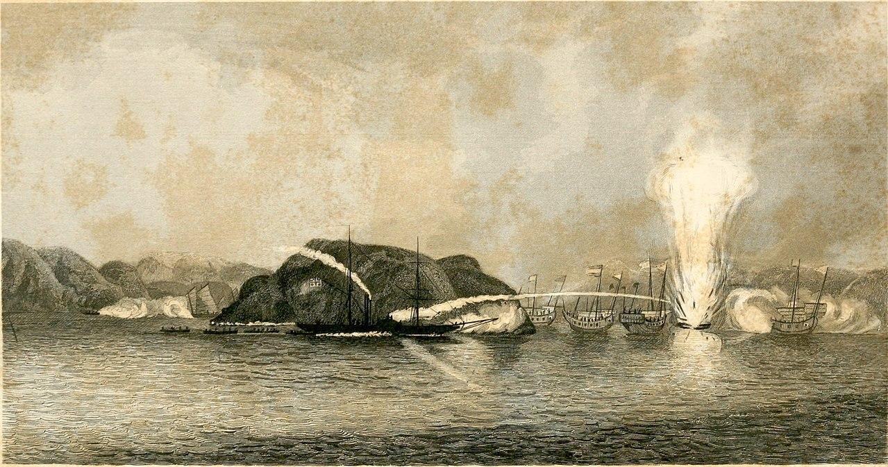 清軍ジャンク船を沈めていくイギリス軍艦
