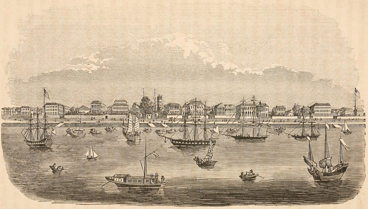 上海と外国船の風景。1864年