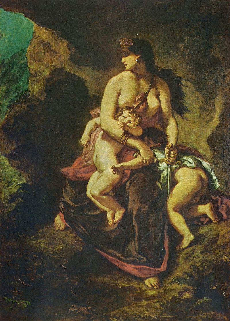 わが子を殺そうとするメディア(ウジェーヌ・ドラクロワ画 、1862、リール市立美術館蔵)