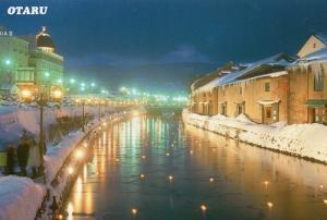 冬の小樽運河夜景